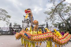 Tran Hung Dao Temple. Vietnam dancer with colorful dragon in Tran temple festival Stock Photography