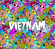 Vietnam doodle hipster colorful background Stock Photo