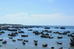 Vietnam. Early morning in the quiet fishing village far away when the catch is collected Royalty Free Stock Photos