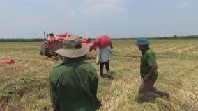 VIETNAM, EL 15 DE ABRIL: Máquina segadora que trabaja en el campo en Tay Ninh almacen de video