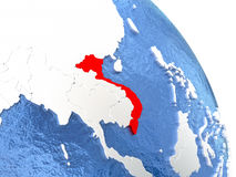 Vietnam on elegant globe. Vietnam highlighted in red on elegant silver globe with blue watery oceans. 3D illustration Royalty Free Stock Photo