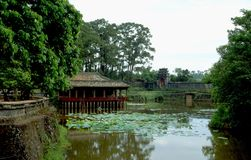 Vietnam: The emperor garden in the city of Hue. With the lovely water plants in the lake stock image