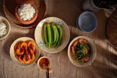In Vietnam, family meals with many Traditional Vietnamese Food has been one of the unique cultural features Stock Photography
