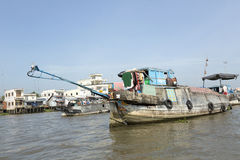 Vietnam fartyg på Mekong River Royaltyfri Foto