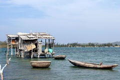 Vietnam fishing hut. Fishing huts like this can be found all over Vietnam Royalty Free Stock Photography