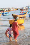Vietnam fishing village in Mui Ne Stock Photos