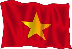Vietnam flag. Waving flag of Vietnam isolated on white background Stock Photos
