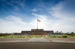 Vietnam flag. A Vietnam flag on an ancient base and the cloudy sky Stock Photo