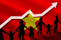 Vietnam flag on a background of a growing arrow up and people with children holding hands. Demographic growth of the country, tourists, refugees, immigrants vector illustration