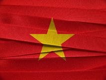 Vietnam flag or banner. Made with red ribbons royalty free stock image