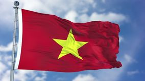 Vietnam Flag in a Blue Sky. Use this clip loud and proud to express loyalty and love to our country. It is a seamless loop with luma channel royalty free stock photo