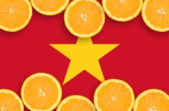 Vietnam flag in citrus fruit slices horizontal frame. Vietnam flag in horizontal frame of orange citrus fruit slices. Concept of growing as well as import and stock illustration