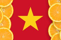 Vietnam flag in citrus fruit slices vertical frame. Vietnam flag in vertical frame of orange citrus fruit slices. Concept of growing as well as import and export vector illustration