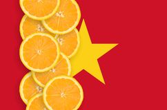 Vietnam flag and citrus fruit slices vertical row. Vietnam flag and vertical row of orange citrus fruit slices. Concept of growing as well as import and export vector illustration
