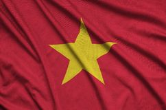 Vietnam flag is depicted on a sports cloth fabric with many folds. Sport team banner. Vietnam flag is depicted on a sports cloth fabric with many folds. Sport royalty free stock image