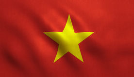 Vietnam Flag. With fabric texture Stock Images