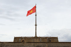 Vietnam flag on flag pole. In Hue Citadel stock photo