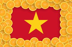 Vietnam flag in fresh citrus fruit slices frame. Vietnam flag in frame of orange citrus fruit slices. Concept of growing as well as import and export of citrus vector illustration