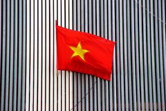 Vietnam flag Ho Chi Minh City. A red flag with gold star, Ho Chi Minh City, Vietnam Stock Photos