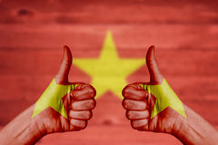 Vietnam flag painted on female hands thumbs up. With blurry wooden background royalty free stock photo