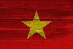 Vietnam flag painted on old wood plank. Patriotic background. National flag of Vietnam royalty free stock photo