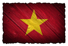 Vietnam flag. Painted on wooden tag stock photo