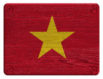 Vietnam flag. Painted on wooden tag royalty free stock images