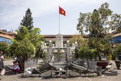 Vietnam flag on the pole. Vietnam flag on pole in China town in District 5 in Ho CHi Minh city in Vietnam stock image