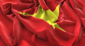 Vietnam Flag Ruffled Beautifully Waving Macro Close-Up Shot. Studio Royalty Free Stock Photo