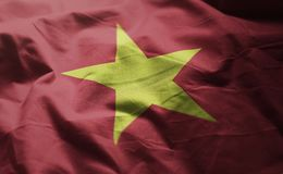 Vietnam Flag Rumpled Close Up.  stock photography