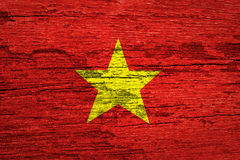 Vietnam Flag. On wood texture background royalty free stock photos