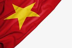 Vietnam flagga av tyg med copyspace för din text på vit bakgrund royaltyfri illustrationer