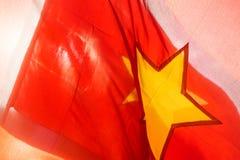 Vietnam flagga, closeup Royaltyfri Bild