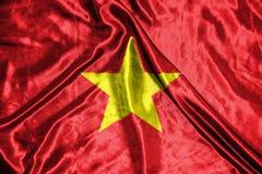 Vietnam flagga flagga på bakgrund Royaltyfri Foto