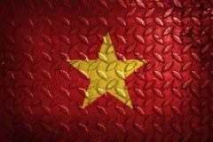Vietnam flagga, metalltextur på bakgrund Fotografering för Bildbyråer