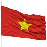 Vietnam flagga på flaggstång Fotografering för Bildbyråer