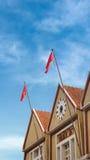 Vietnam flagga på järnvägsstation i Da-Lat Royaltyfri Fotografi