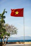 Vietnam flagga på stranden Arkivfoton