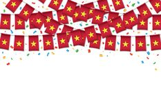 Vietnam flags garland white background with confetti. Hang bunting for Vietnamese independence Day celebration template banner, Vector illustration Royalty Free Stock Images