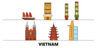 Vietnam flat landmarks vector illustration. Vietnam line city with famous travel sights, skyline, design. Vietnam flat landmarks vector illustration. Vietnam stock illustration