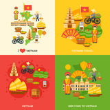 Vietnam Flat Set. Vietnam design concept set with asia travel flat icons isolated vector illustration Stock Images