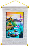 Vietnam folk picture hanging on rope Stock Photography