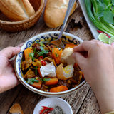 Vietnam food, bread with stewed beef Stock Photo