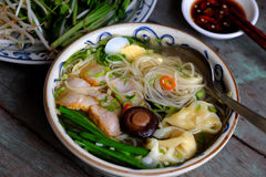 Vietnam food, egg noodle soup with wontons. Homemade Vietnam food, egg noodle soup with wontons, colorful food ingredient for this eating as egg, pork, broth stock photography