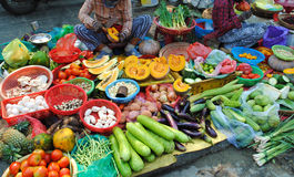 Vietnam food market. Various vegetables on display at the food market in Hoi An, Vietnam Royalty Free Stock Photos