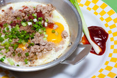 Vietnam fried egg. Fried eggs with meat and chinease style sausage Royalty Free Stock Images