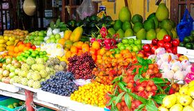 Vietnam,fruit market Hoi An. Food and fruit market in Hoi An. colorful and fresh royalty free stock images