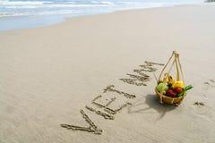 Vietnam geschrieben auf den Sand Stockbilder