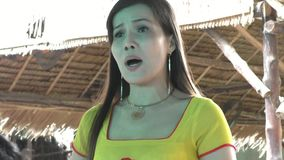 Vietnam girl sings a traditional song for tourists stock footage