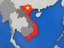 Vietnam on globe. Map of Vietnam with embedded national flag on globe, top-down view. 3D illustration vector illustration